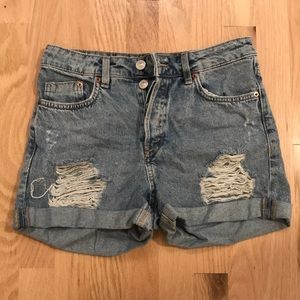 Light blue ripped jean shorts